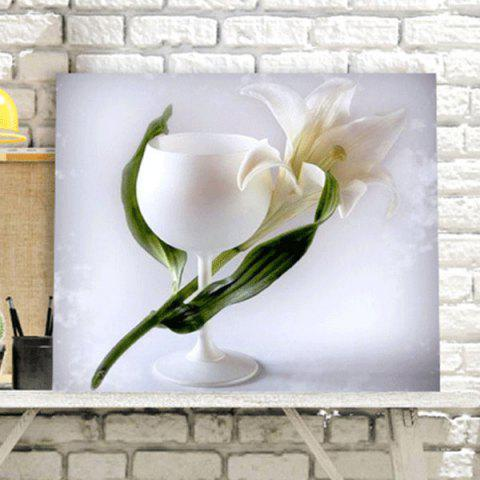 Cheap Flower Cup DIY 5D Resin Diamond Paperboard Painting - WHITE  Mobile