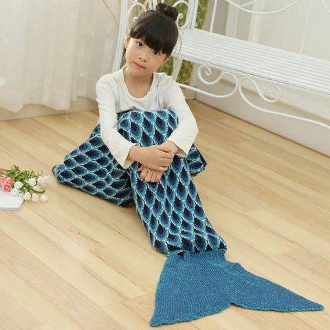 Store Peacock Pattern Knitted Kids Mermaid Blanket CADETBLUE 137*70CM
