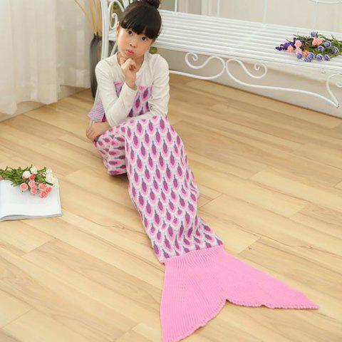 Peacock Pattern Knitted Kids Mermaid Blanket - Pink - 137*70cm