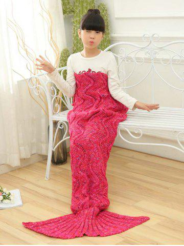 Wave Knitted Sofa Sleeping Kids Mermaid Blanket Rouge 137*70CN-M