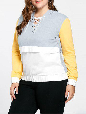 Plus Size Lace Up Color Block Hoodie - Yellow - 5xl