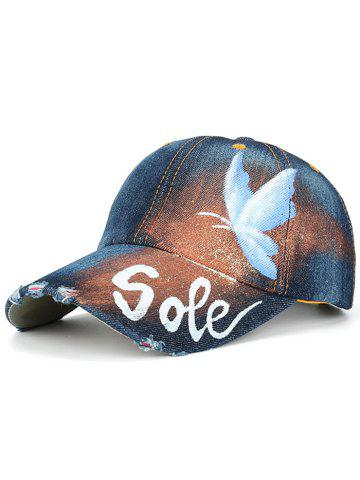 Butterfly Letters Hand Painted Printing Baseball Cap - Cerulean