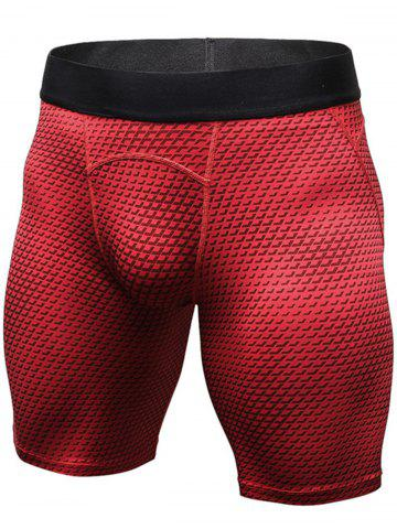 Shop 3D Geometric Print Quick Dry Fitted Gym Shorts - M RED Mobile