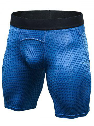 Shop 3D Geometric Print Quick Dry Fitted Gym Shorts - XL BLUE Mobile