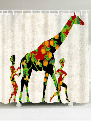 Waterproof African Colored Giraffe Pattern Shower Curtain - Colorful - W79 Inch * L71 Inch