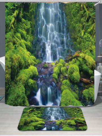 Layered Waterfall Mountains Showerproof Bath Curtain Rug Set - Green - W79 Inch * L71 Inch