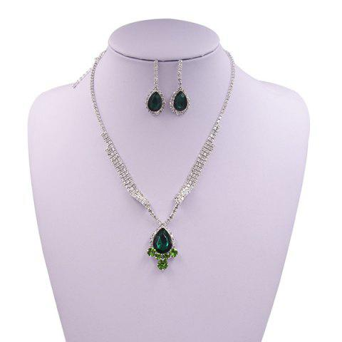 Best Sparkly Rhinestone Faux Gem Teardrop Jewelry Set GREEN