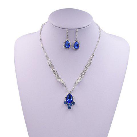 Cheap Sparkly Rhinestone Faux Gem Teardrop Jewelry Set BLUE