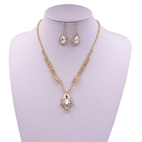 Outfits Sparkly Rhinestone Faux Gem Teardrop Jewelry Set GOLDEN