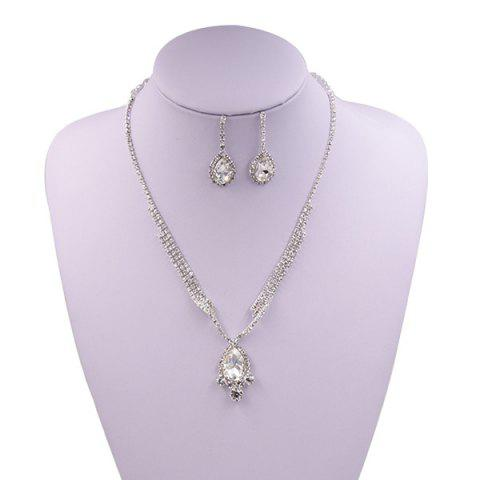 New Sparkly Rhinestone Faux Gem Teardrop Jewelry Set SILVER