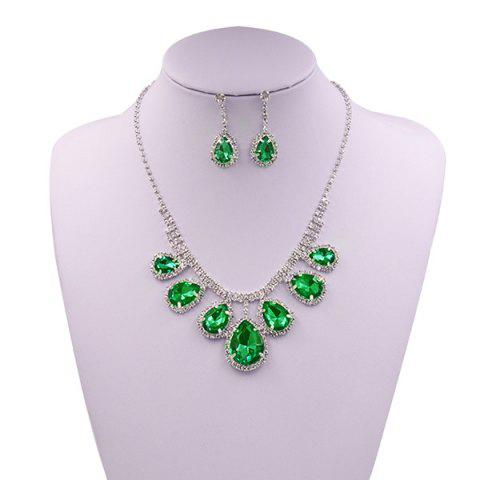 Buy Rhinestone Faux Gem Teardrop Wedding Jewelry Set