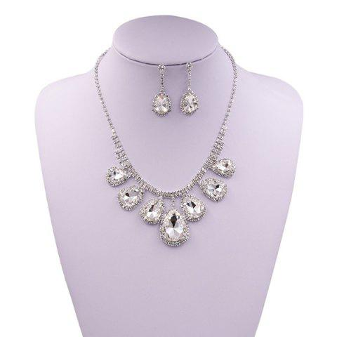 Latest Rhinestone Faux Gem Teardrop Wedding Jewelry Set