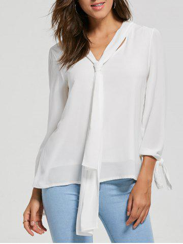 Discount Chiffon Blouse with Optional Tie WHITE M