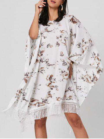 Chic Batwing Sleeve Fringed Floral Midi Dress