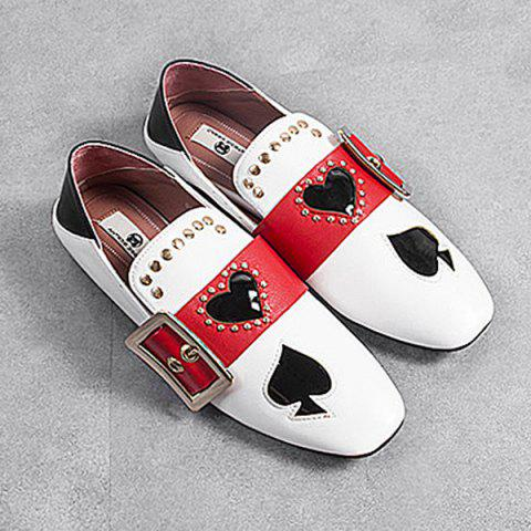 Heart Buckled Studded Slip On Flats - White - 38
