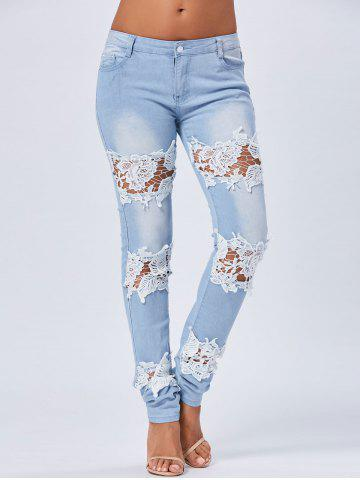 Skinny Lace Trim Light Wash Jeans - Blue - M