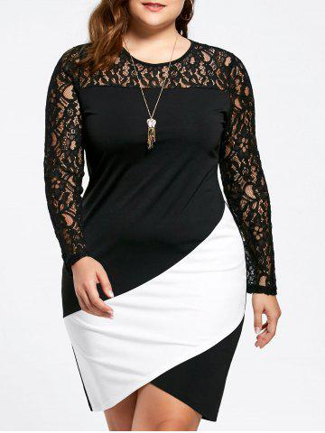 Plus Size Long Sleeve Lace Panel Asymmetric Dress - White And Black - 3xl