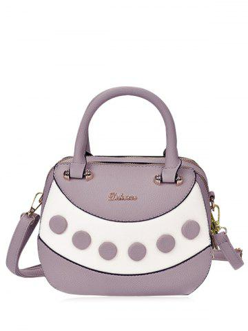 Color Block Textured Leather Handbag - Purple
