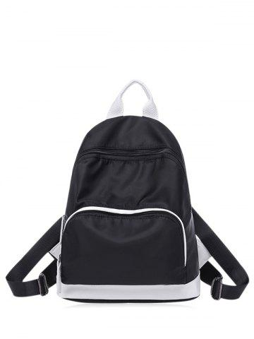 Color Block Nylon Zippers Backpack - Black