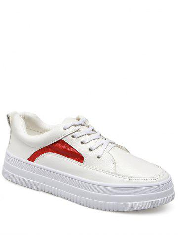 Latest Colour Block PU Leather Athletic Shoes RED WITH WHITE 38