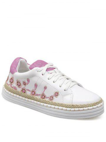 Best Embroidery Faux Leather Athletic Shoes PINKISH PURPLE 38