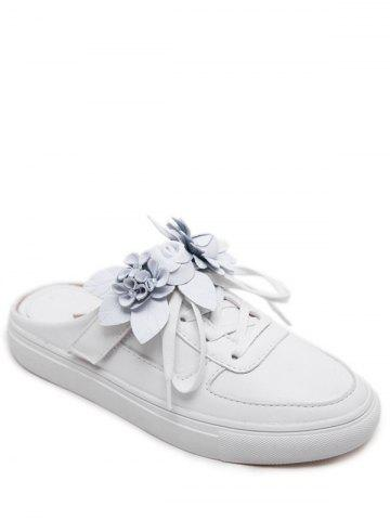 Flowers Tie Up Flat Shoes - White - 41