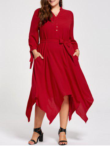 Plus Size Long Sleeve Midi Handkerchief Dress - Red - 5xl