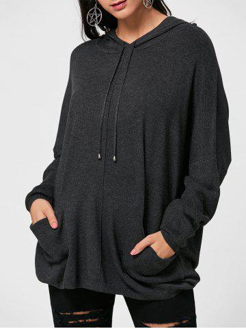 Oversized Hooded Drawstring Sweater - Deep Gray - One Size