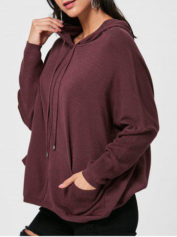 Oversized Hooded Drawstring Sweater - Dark Red - One Size