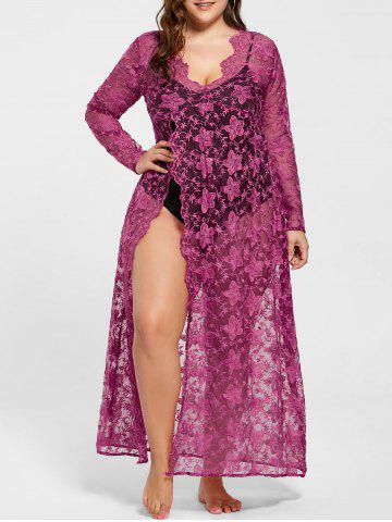 Plus Size High Slit Sheer Dress with Bodysuit - Rose Red - 5xl