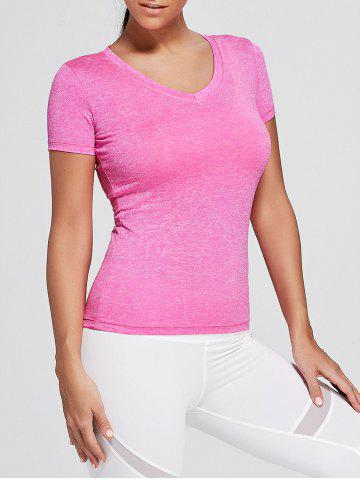 Hot Breathable Marled V Neck Sports T-shirt - XL TUTTI FRUTTI Mobile