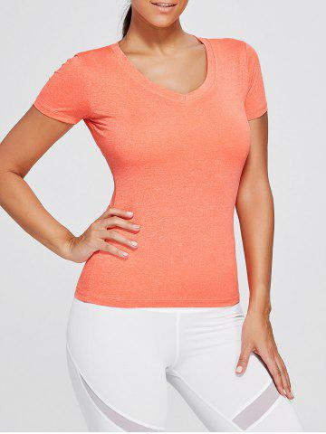 Breathable Marled V Neck Sports T-shirt - Burnt Orange - M