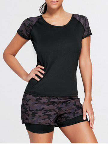 Store Camouflage Sports Short Sleeve Raglan Tee - M BLACK Mobile