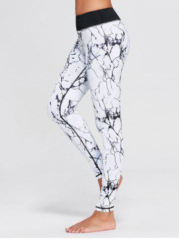 Lightning Patterned Ninth Yoga Tights - White - L