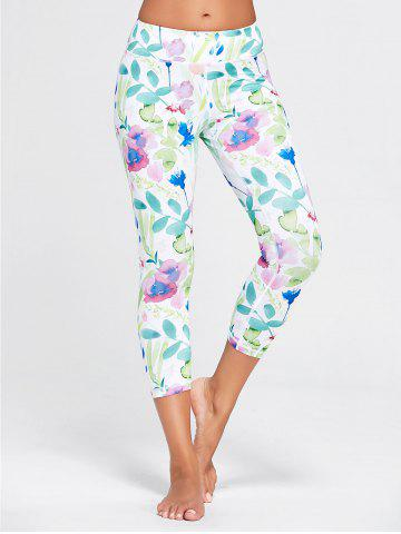 Unique Flower Printed Capri Workout Tights WHITE S