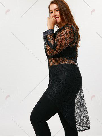 New Plus Size Sheer High Low Lace Shirt - 3XL BLACK Mobile