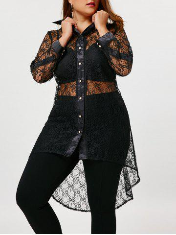 Fashion Plus Size Sheer High Low Lace Shirt - 3XL BLACK Mobile