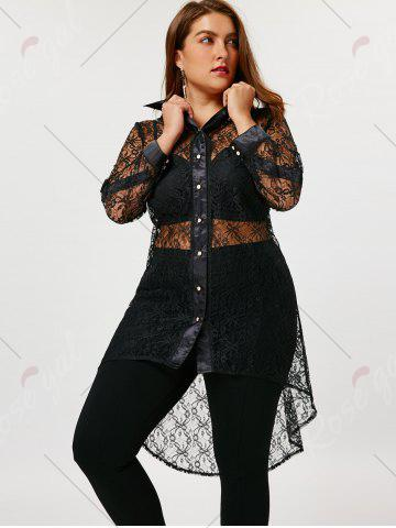 New Plus Size Sheer High Low Lace Shirt - 4XL BLACK Mobile