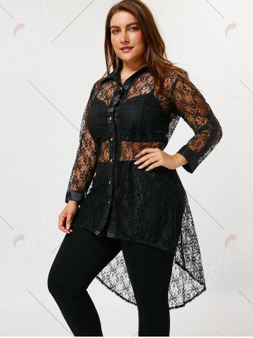 New Plus Size Sheer High Low Lace Shirt - 5XL BLACK Mobile