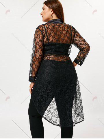 Hot Plus Size Sheer High Low Lace Shirt - 5XL BLACK Mobile