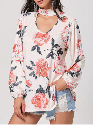 Hot Long Floral Print Choker Blouse - L APRICOT Mobile