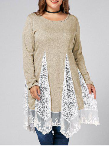 Affordable Plus Size Lace Trim  Swing Long Sleeve T-shirts - LIGHT KHAKI 3XL Mobile