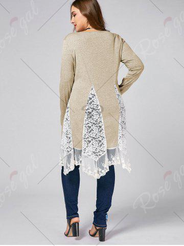 Trendy Plus Size Lace Trim  Swing Long Sleeve T-shirts - LIGHT KHAKI 3XL Mobile