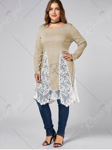 Fancy Plus Size Lace Trim  Swing Long Sleeve T-shirts - LIGHT KHAKI 3XL Mobile