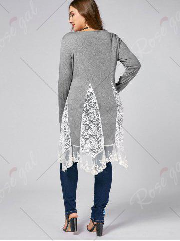 Trendy Plus Size Lace Trim  Swing Long Sleeve T-shirts - 5XL DEEP GRAY Mobile