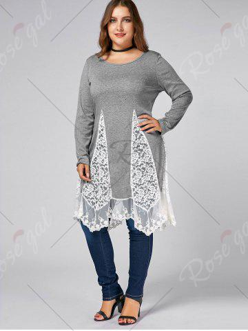 Trendy Plus Size Lace Trim  Swing Long Sleeve T-shirts - DEEP GRAY 4XL Mobile