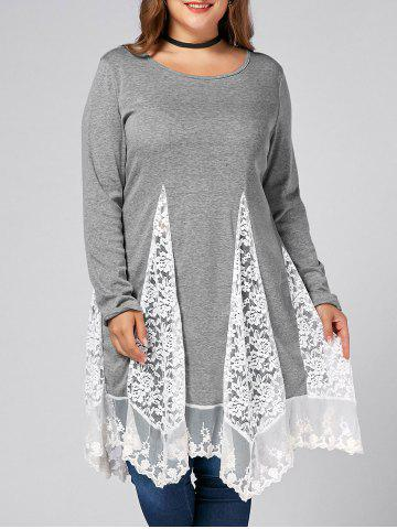 Buy Plus Size Lace Trim  Swing Long Sleeve T-shirts - DEEP GRAY 2XL Mobile