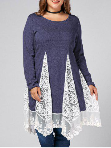 Cheap Plus Size Lace Trim  Swing Long Sleeve T-shirts - BLUISH VIOLET 3XL Mobile
