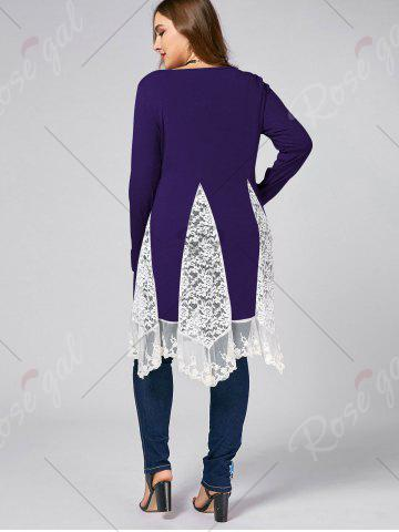 Discount Plus Size Lace Trim  Swing Long Sleeve T-shirts - PURPLE 4XL Mobile