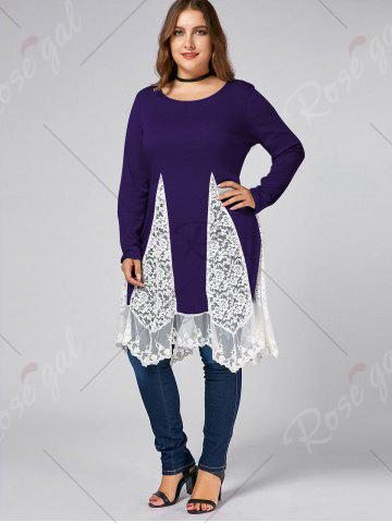 Online Plus Size Lace Trim  Swing Long Sleeve T-shirts - PURPLE 4XL Mobile